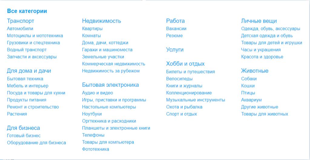 категории товаров на авито ру