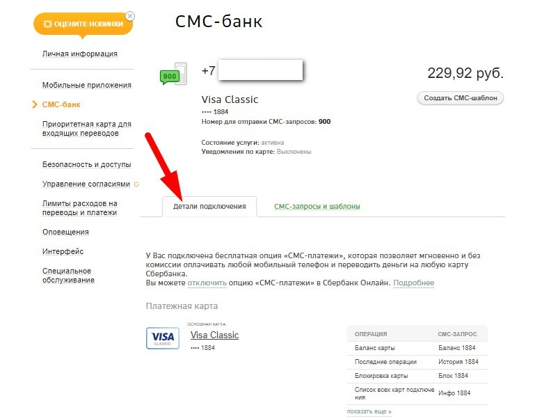 Детали СМС-банка